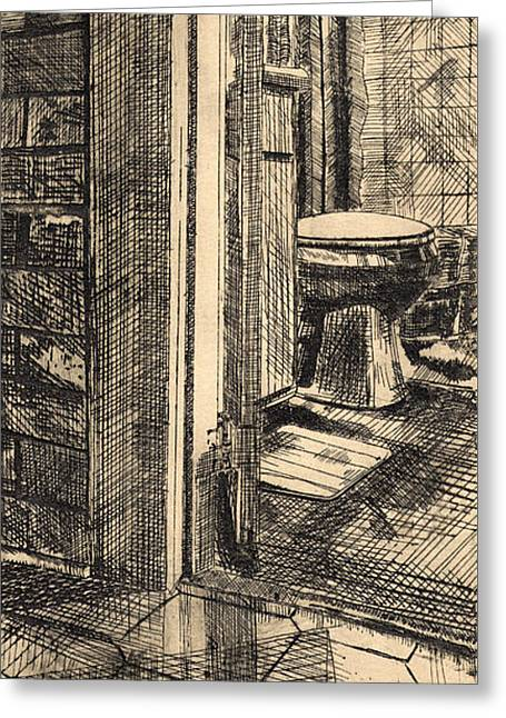 Bathroom Prints Drawings Greeting Cards - Entrance Gray Greeting Card by Luke Keown