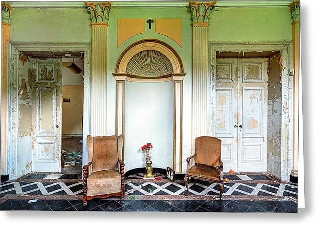 Abandoned Houses Greeting Cards - Entrance hall with memories - abandoned building Greeting Card by Dirk Ercken