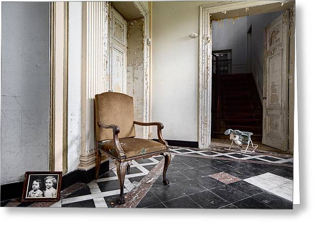 Abandoned House Greeting Cards - Entrance hall with old memories - abandoned building Greeting Card by Dirk Ercken