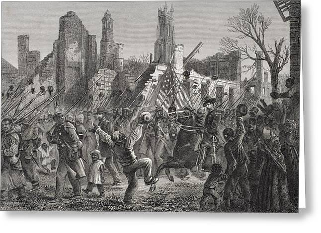 Charleston Drawings Greeting Cards - Entrance Of The 55th Massachusetts Greeting Card by Ken Welsh