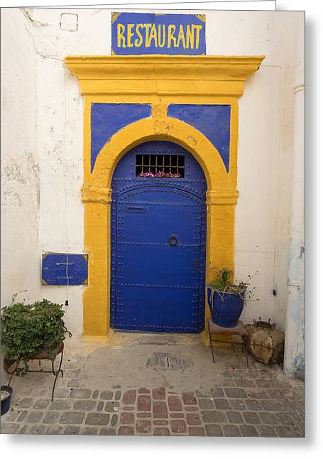 Entrance Door Greeting Cards - Entrance To A Restaurant In An Alley Greeting Card by Panoramic Images