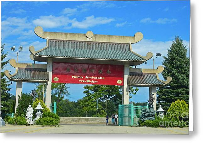Zen Sculptures Greeting Cards - Entrance to Buddhist Temple Greeting Card by Crystal Loppie