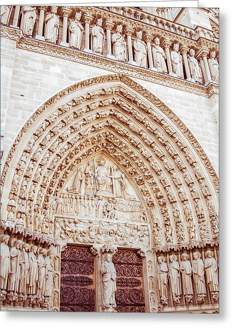 Entrance To Notre Dame Cathedral Greeting Card by Nila Newsom
