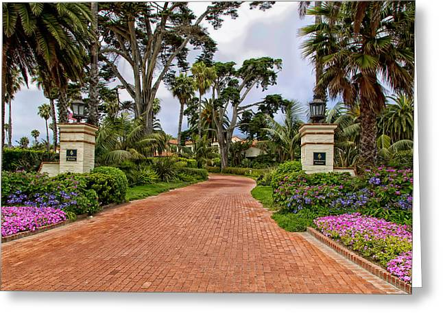 Scenic Drive Greeting Cards - Entrance To The Biltmore Santa Barbara Hotel Greeting Card by Mountain Dreams