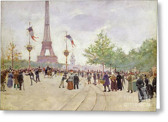 Entrance Greeting Cards - Entrance to the Exposition Universelle Greeting Card by Jean Beraud