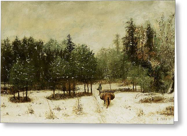 Horse And Cart Paintings Greeting Cards - Entrance to the Forest in Winter Greeting Card by Cherubino Pata