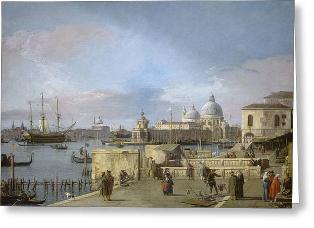 Malecon Greeting Cards - Entrance To The Grand Canal From The Molo - Venice Greeting Card by Canaletto