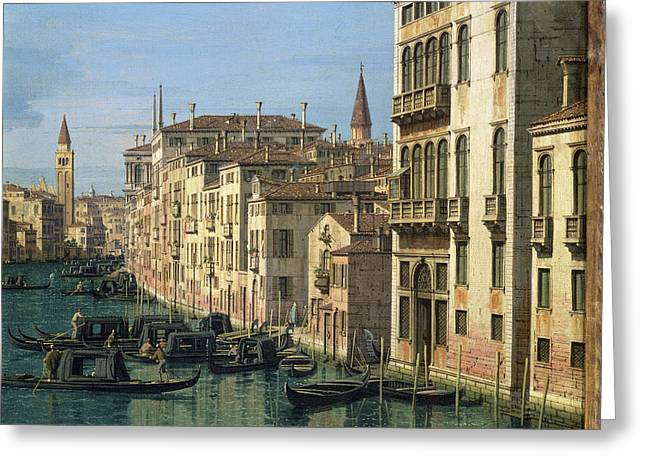 Campanile Greeting Cards - Entrance to the Grand Canal Looking West Greeting Card by Canaletto
