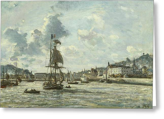 Entrance To The Port Of Honfleur Greeting Card by Johan-Barthold Jongkind