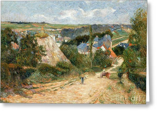 Vintage Painter Greeting Cards - Entrance to the Village of Osny Greeting Card by Gauguin