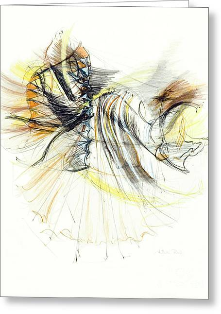 Fineart Drawings Greeting Cards - Entranced Greeting Card by Kerryn Madsen-Pietsch