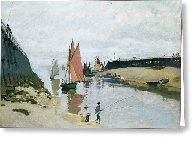 Fishing Prints Greeting Cards - Entree du port de Trouville Greeting Card by Claude Monet