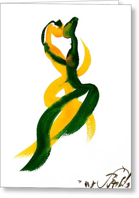 Green Abstract Drawings Greeting Cards - Entrelazados Greeting Card by Jorge Berlato