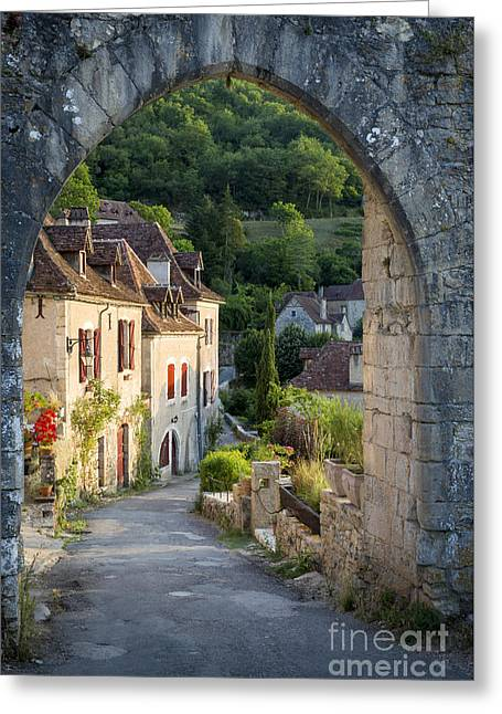 Vallee Greeting Cards - Entry Gate to Saint-Cirq-Lapopie Greeting Card by Brian Jannsen