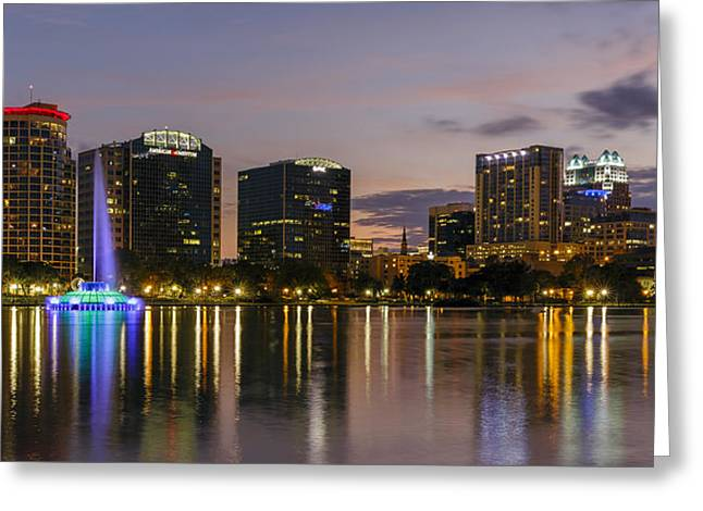 Winter Night Greeting Cards - Eola Evening Greeting Card by Mike Lang