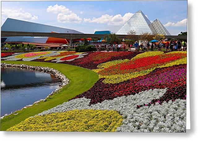 Epcot Center Greeting Cards - Epcot Gardens Greeting Card by Denise Mazzocco