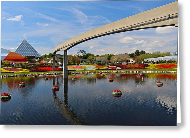 Epcot Center Greeting Cards - Epcot Monorail Greeting Card by Denise Mazzocco
