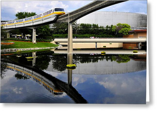 Monorail Greeting Cards - Epcot reflections Greeting Card by David Lee Thompson