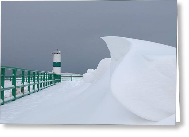 On The Beach Greeting Cards - Epic Snow Drifts on Pentwater Beach Greeting Card by Jane Greiner