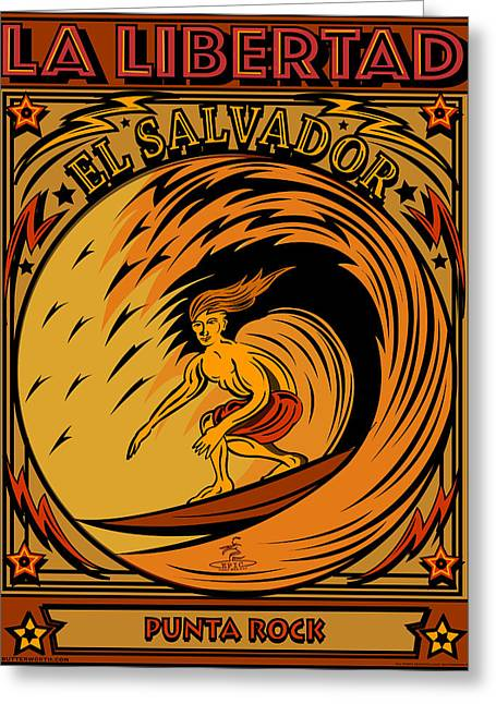 Epic Surf Designs Surf El Salvador Greeting Card by Larry Butterworth