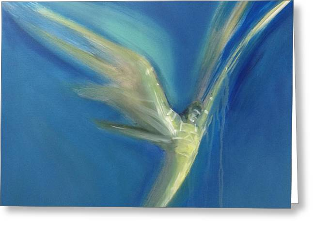 Angel Blues Paintings Greeting Cards - Epiphany Greeting Card by Barbara Hranilovich