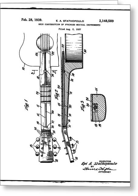Epiphone Guitar Patent 1939 Greeting Card by Bill Cannon