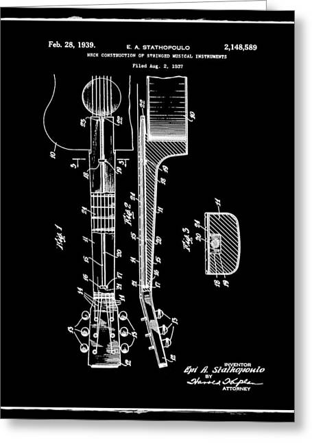 Epiphone Guitar Patent 1939 Black Greeting Card by Bill Cannon