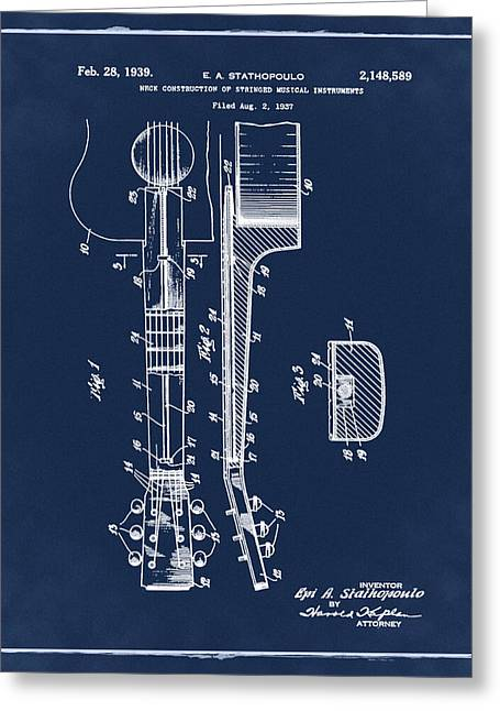 Epiphone Guitar Patent 1939 Blue Greeting Card by Bill Cannon