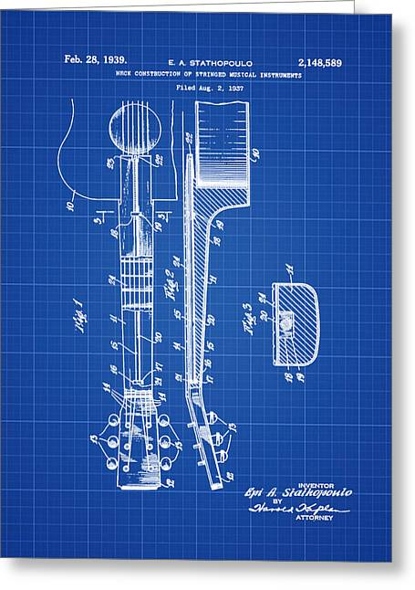 Epiphone Guitar Patent 1939 Blue Print Greeting Card by Bill Cannon