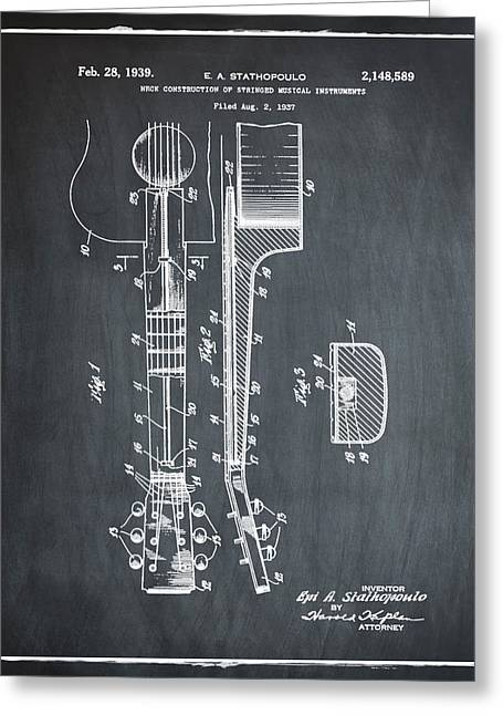 Epiphone Guitar Patent 1939 Chalk Greeting Card by Bill Cannon