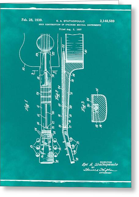 Epiphone Guitar Patent 1939 Green Greeting Card by Bill Cannon
