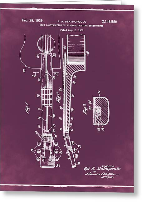 Epiphone Guitar Patent 1939 Red Greeting Card by Bill Cannon