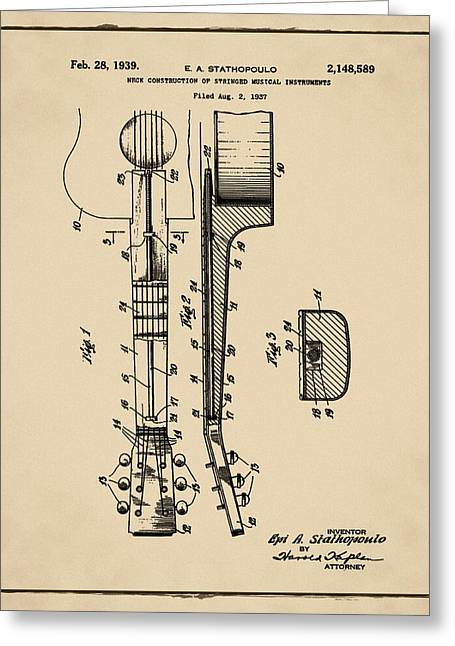 Epiphone Guitar Patent 1939 Sepia Greeting Card by Bill Cannon