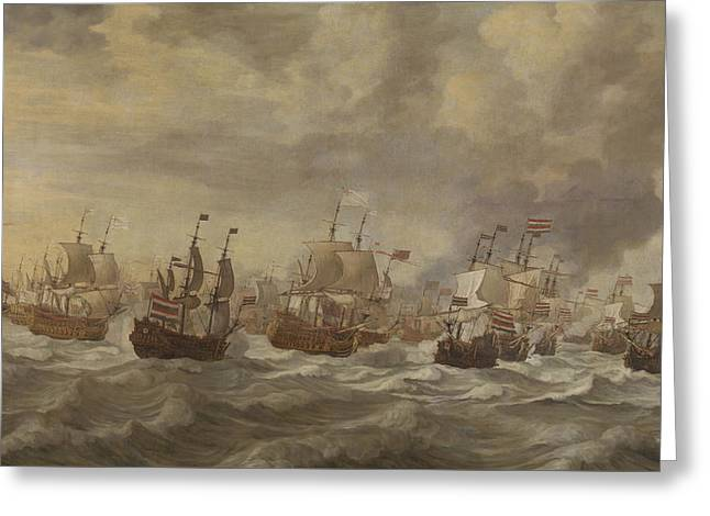 Episode From The Four Days' Naval Battle Of June 1666 Greeting Card by Willem Van De Velde The Younger