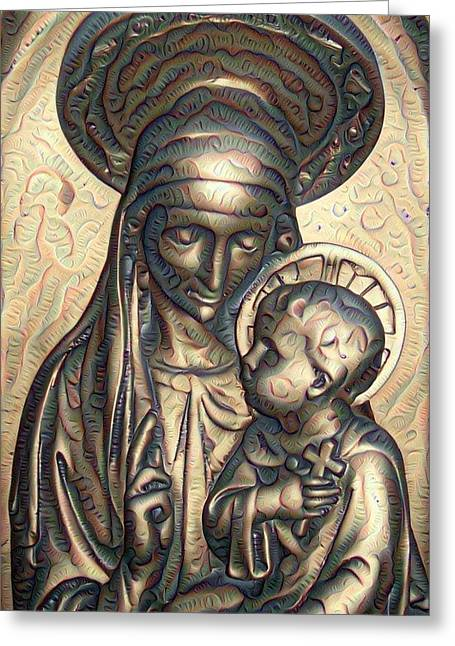 Virgin Mary Greeting Cards - Equal Parts Mother and Madonna Greeting Card by Ruth Koob