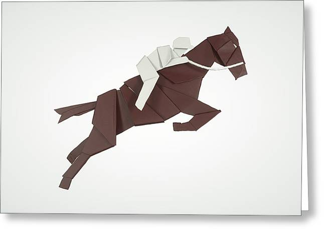 Sport Sculptures Greeting Cards - Equestrian Jumping Greeting Card by Richard Seanor