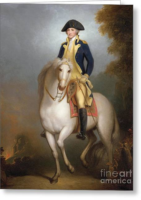 Politicians Paintings Greeting Cards - Equestrian portrait of George Washington Greeting Card by Rembrandt Peale