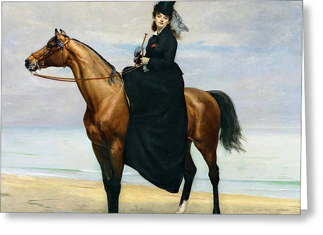 Saddle Greeting Cards - Equestrian Portrait of Mademoiselle Croizette Greeting Card by Charles Emile Auguste Carolus Duran
