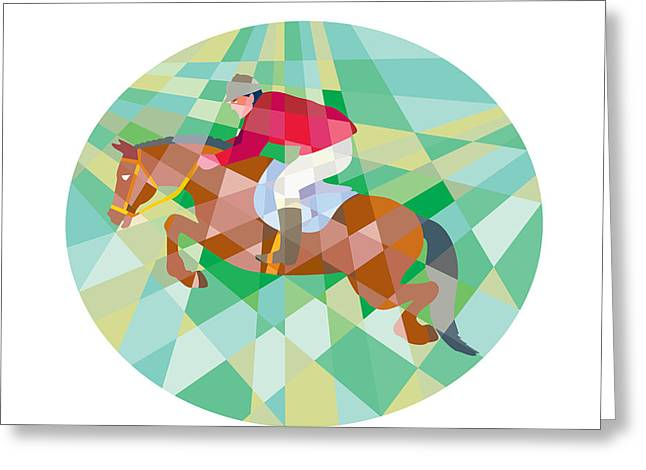 Equestrian Show Jumping Oval Low Polygon Greeting Card by Aloysius Patrimonio