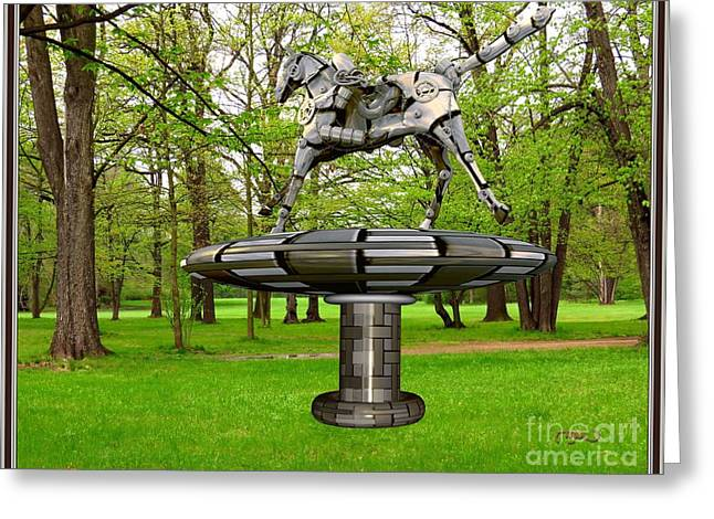 Abstract Digital Mixed Media Greeting Cards - Statue of horse in park SOHIP1 Greeting Card by Pemaro