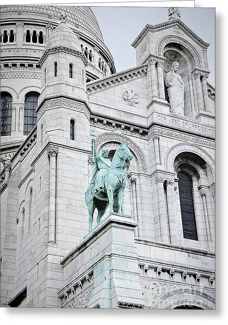 Greeting Cards - Equestrian Statue Sacre Coeur Paris Greeting Card by Ivy Ho