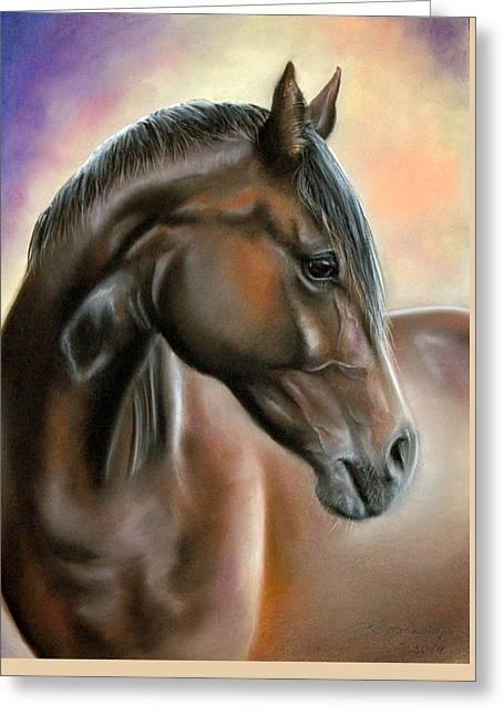 Equine Pastels Pastels Greeting Cards - Equine Greeting Card by Danguole Serstinskaja
