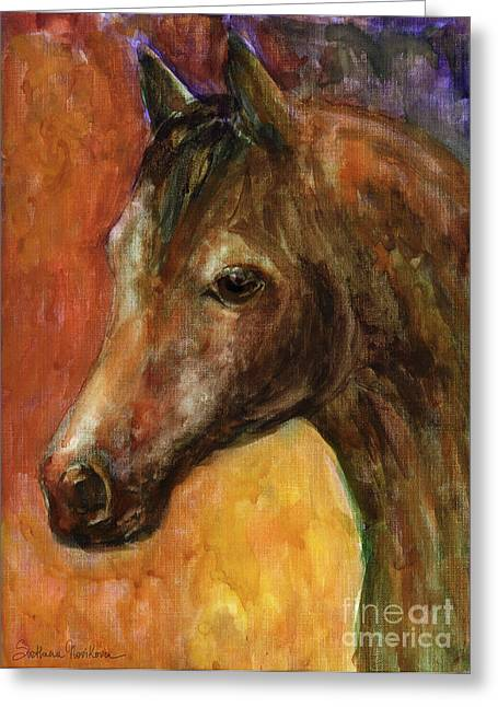 Equine Artist Greeting Cards - Equine Horse painting  Greeting Card by Svetlana Novikova