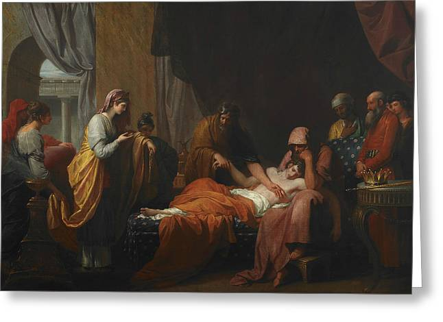 Erasistratus The Physician Discovers The Love Of Antiochus For Stratonice  Greeting Card by Benjamin West