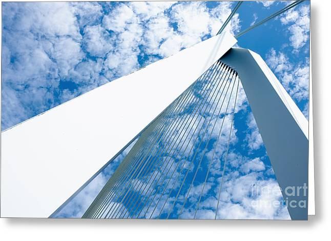 Famous Bridge Greeting Cards - Erasmus bridge pillars Greeting Card by Jan Brons