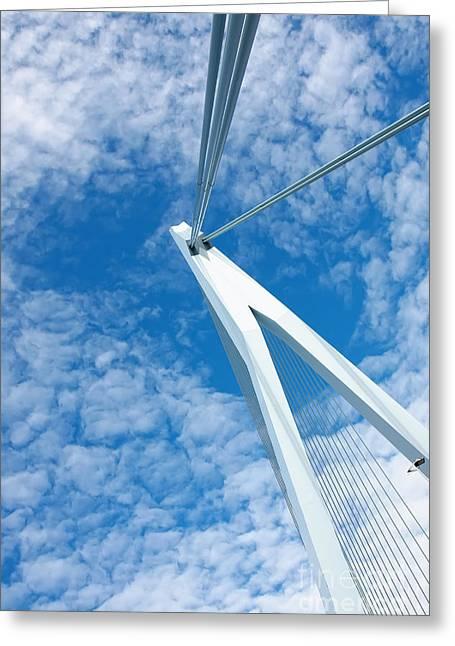 Famous Bridge Greeting Cards - Erasmus bridge triangle Greeting Card by Jan Brons