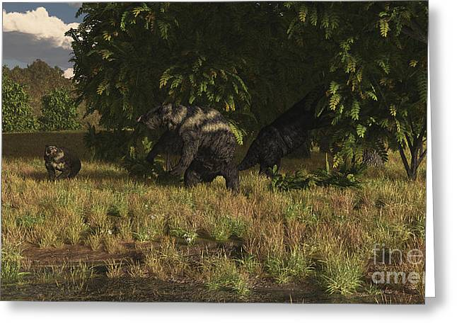 Sloth Greeting Cards - Eremotherium Approaches A Pair Greeting Card by Arthur Dorety