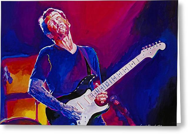 Musicians Paintings Greeting Cards - Eric Clapton - Crossroads Greeting Card by David Lloyd Glover
