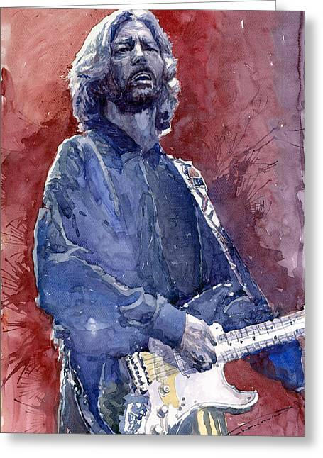 Instrument Paintings Greeting Cards - Eric Clapton 04 Greeting Card by Yuriy  Shevchuk