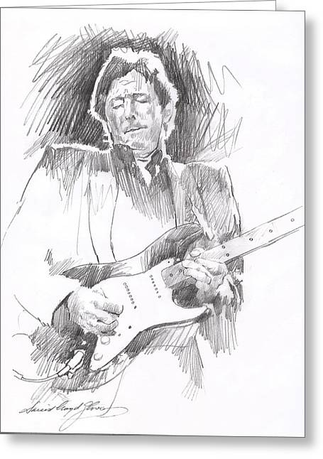 British Celebrities Greeting Cards - Eric Clapton Blackie Greeting Card by David Lloyd Glover